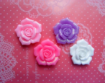 Glitter Flower Cabochons 26mm - 4pcs