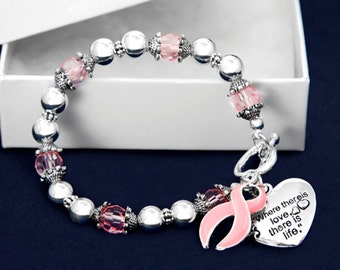 Pink Ribbon Breast Cancer Bracelet - Where Love (RE-B-01-1)