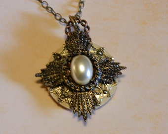 Metal Element Necklace With Pearl Accent on a Vintage Button Base.