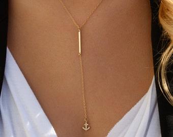 Bar Drop Anchor Necklace / Simple Bar Lariat Necklace/ Nautical Anchor Necklace/ Ocean Anchor/ 14K Gold Filled/ Minimal Y Necklace