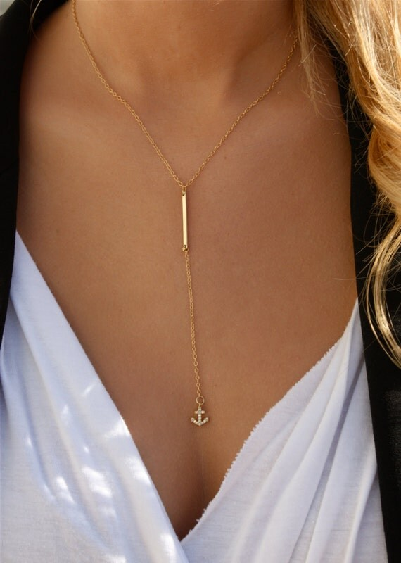 Bar Drop Anchor Necklace / Simple Bar Lariat Necklace/