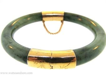 Hinged Green Jade Bracelet