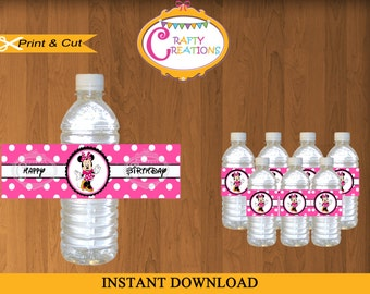 Printable Pink Minnie Mouse WATER BOTTLE LABELS  - instant Download  -Print Your Own - Crafty Creations