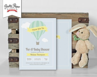 Baby Shower Invitation // Hot Air Balloon Invite // Gender Neutral // Yellow and Mint Green // Up, Up and Away // Printable, Digital, DIY