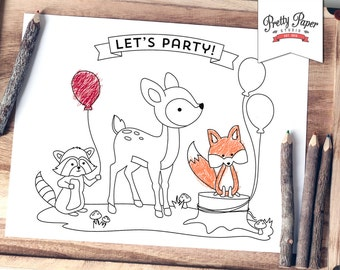 Woodland Coloring Page INSTANT DOWNLOAD Fox Birthday Party Activity Colouring