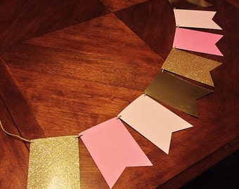 Pink and Gold Pennant Banner - Birthday, Shower, Party, Decor