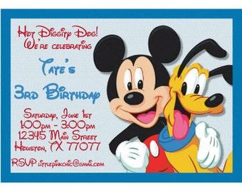 Mickey and Pluto Birthday Invitation