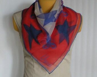 scarf Ladies vintage Vera Sheer Stars Patriotic Red White & Blue Super Cute