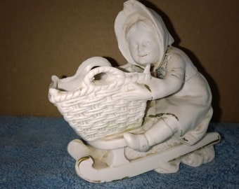 Vintage Grafenthal Germany Bisque Figurine - Girl on Sleigh