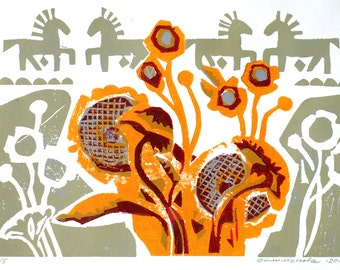 """linocut """"Sunflowers"""""""