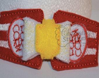 Movie Popcorn - Circus Popcorn Felt Bow  headband embellishment in the hoop bow