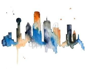 Dallas Texas Skyline Print, Watercolour Wall Art, Modern Minimalist Painting, Navy Blue, Large Poster, Watercolor, 8x10, 11x14