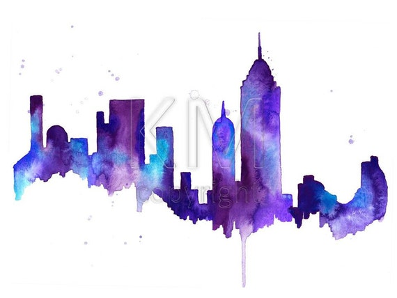 New york city skyline print watercolour wall art modern for New york skyline painting