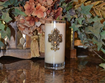 9oz Luxury Old World Tuscan Soy Candle Embellished w/Antique Gold Fleur de Lis and Swarovski Crystal Accents