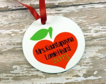 Personalized Teacher Gift -{Double sided} -Custom Ornament - Christmas Gift- Teacher Appreciation -Thank You Gift-Tree decor