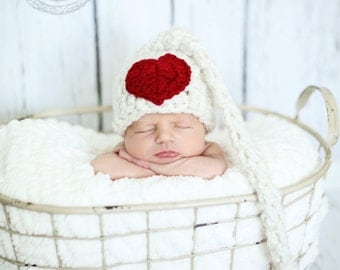 Crocheted valentines hat, valentine stocking hat, photo prop, crocheted baby girl hat, baby gift, baby girl accessory