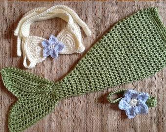Crocheted mermaid outfit, newborn gift,  mermaid costume, baby photo prop, baby gift, baby mermaid