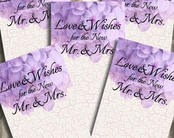 Purple Hydrangea Wedding Wishing Tree Tags Printable Instant Download Digital