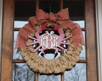 NEW! Summer crab wreath with 3 letter interlocking monogram