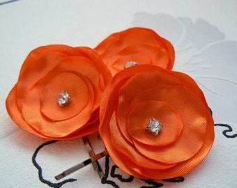 Orange wedding bridal, bridesmaids flower hair clips (set of 3), bridal hair accessories, bridal floral headpiece, wedding hair accessories