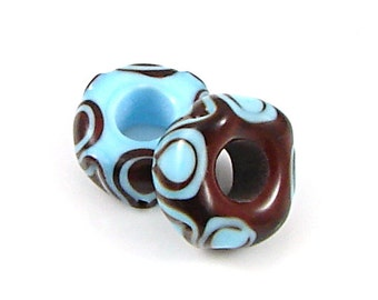 Chocolate & Sky Blue Large Hole Bead Set - Handcrafted