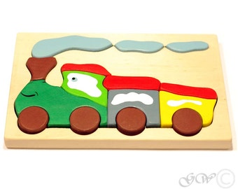 Wooden Puzzle Train. Wooden toys. Wooden puzzle