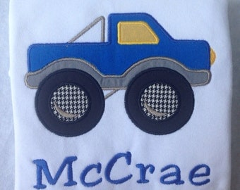 Boys Personalized Monster Truck Appliqué Shirt Size 12m-8 years.