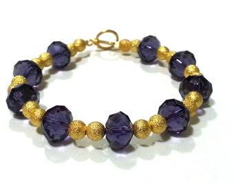 7.5 Inch Purple and Gold Crystal Bracelet; Purple and Gold Bracelet