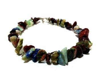 LAST CHANCE Multi Gemstone Chip Bracelet; Multi Stone Chip Beaded Bracelet, Boho Bracele, Boho Beach Jewelry, Multi Stone Bracelet
