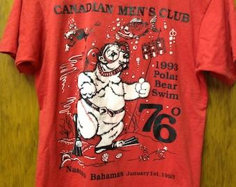 vintage canadian mens club polar bear bahamas t shirt size large