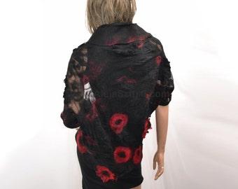 Black and red silk bolero, silk cape, felted clothes, nuno felting, silk bolero