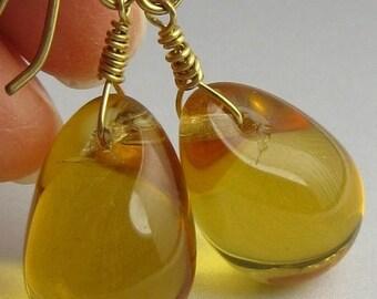 """Czech honey gold earrings...Honey gold dangle earrings...Honey gold glass earrings...Honey gold drop earrings... """"Honey Drops"""""""