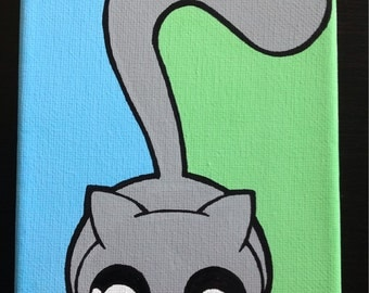 Pounce 4x6 in. Kawaii Kitty Painting
