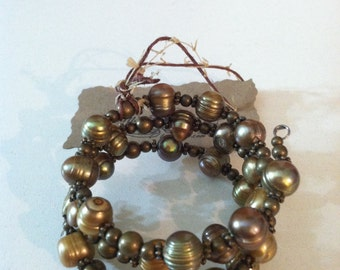 Brass and gold colored freshwater pearl wrap bracelet