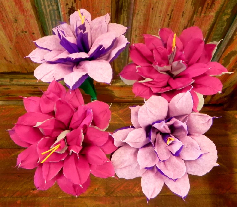 Mexican Crepe Paper Flowers Set of 4 Bi Color