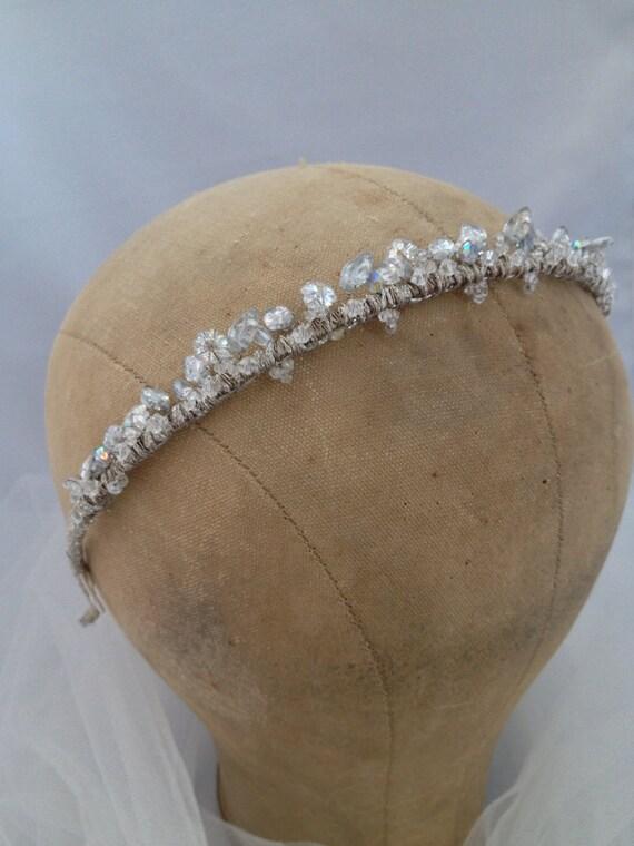 Tiara ,Crystal Headband,, Something Blue, Tiny Tiara, Swarovski Crystals, Vintage Mirrored Leaves, Light Blue Crystals