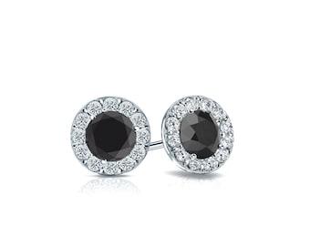 14k Gold Halo Round Black Diamond Stud Earrings 0.75 ct. tw.