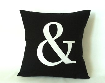 Monogram Letter Pillow Cover -  20 x 20, One, And Sign Pillow, & Pillow, Ampersand Pillow, Black White Modern Pillows, Custom Cushion Cover