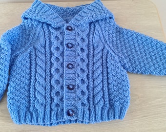 Free Knitting Pattern Baby Aran Cardigan : Choose from 0-3, 3-6, 6-12 months, 1-2, 3-4, 5-6 years ...
