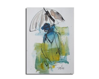 im Regen - Schirm - Original Zeichnung auf Künstlerpapier -21x14cm  mit Bambusfeder - farbige Tuschen blau  kostenloser Versand
