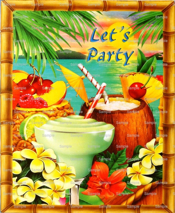 Summer Luau Let's Party - Edible Cake and Cupcake Topper For Birthday's and Parties! - D333