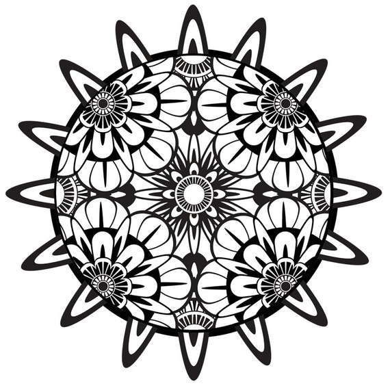 items similar to coloring page mandala printable coloring page instant download psychedelic. Black Bedroom Furniture Sets. Home Design Ideas