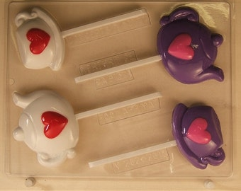Tea Pot And Tea Cup Lollipop With Hearts V262 Chocolate Candy Mold