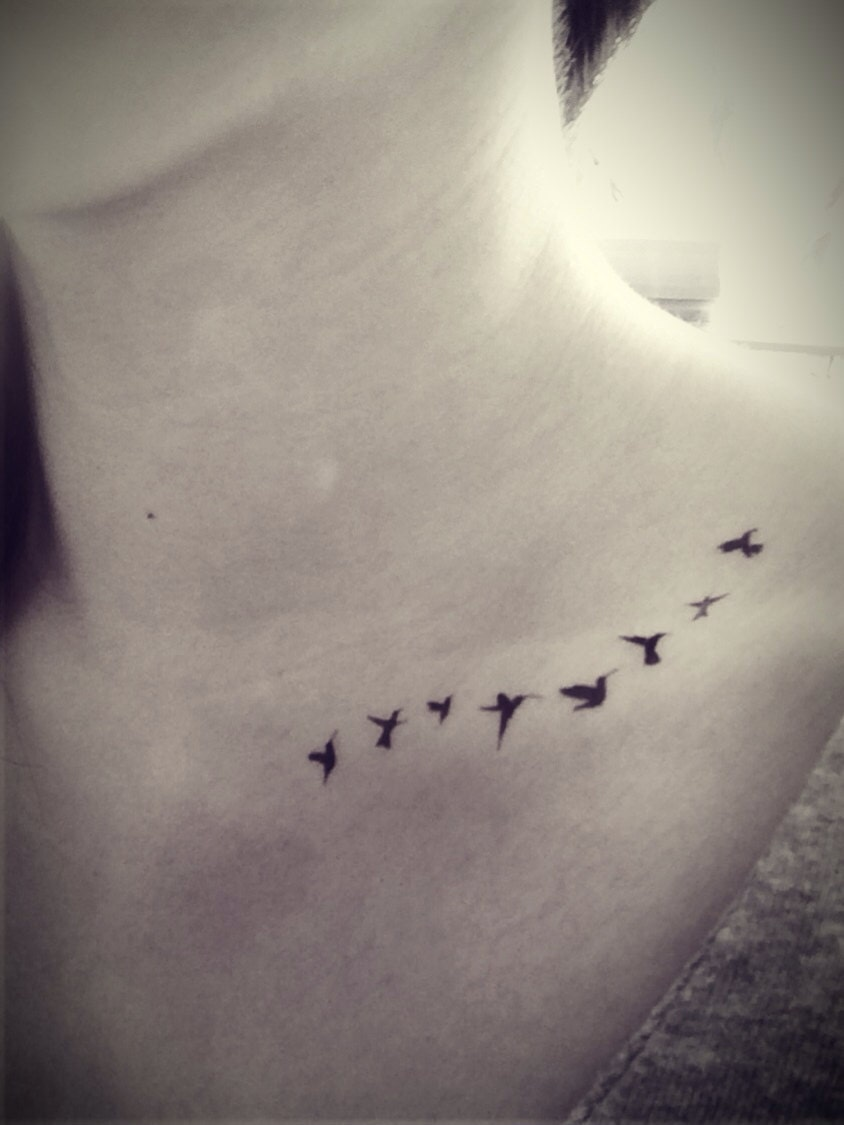Эскизы тату птички на шее