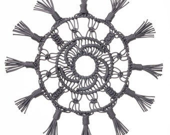 Sunburst Macrame Wall Hanging, Rope Wall Hanging, Circle wall hanging, wall medallion, Dark Metallic Grey