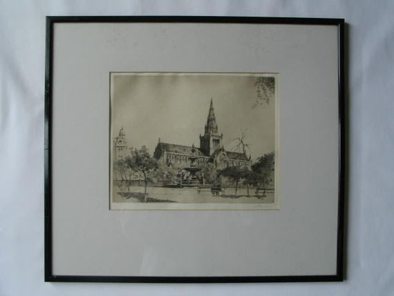 Glasgow Cathedral Artist Signed Etching By A P Thomson Rsw