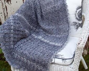 Blue Grey Stripe Hand Crocheted Throw 'Stiperstones'