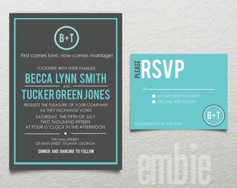 Modern Monogram Wedding Invitation FILE RSVP Card Custom Color Printable DIY Print at home
