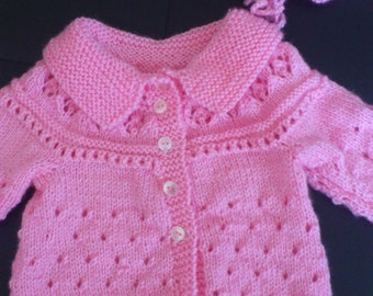 enchanting baby jacket with matching hood in pink