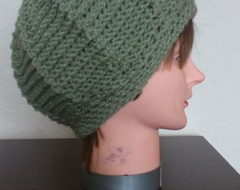Chic Crocheted Hat in Olive color